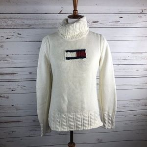 Tommy Hilfiger Juniors Ivory Turtleneck Flag Logo